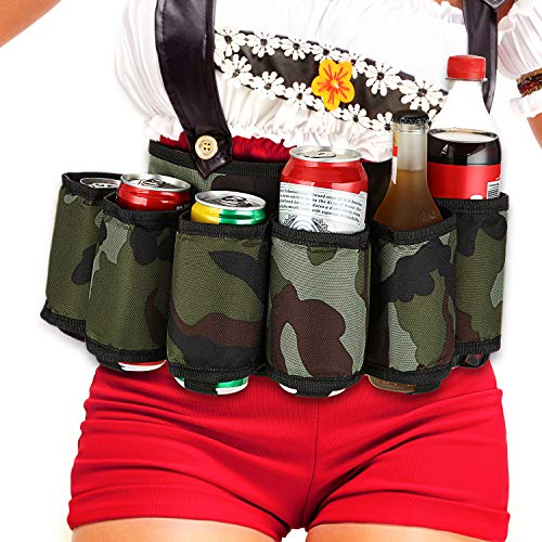 6-Pack Thickening Beer Belt Bottle Can Holder Oxford Cloth Drink Belt with Adjustable Waist Strap Big Zipper Pocket for Parties, Camping, Barbeque, Fishing and Gift-Giving, Camouflage
