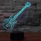 7 Changement De Couleur Musique 3D Led Artistique Électrique Guitare Atmosphère Décor Night Light Cadeaux Luminaire Usb Lampe De Bureau