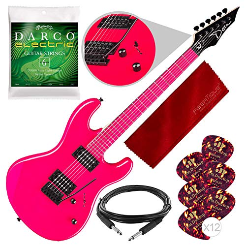 Dean Custom Zone Solid Body Electric Guitar, 2 Humbuckers Florescent Pink with Strings, Picks & Guitar Care Kit Bundle