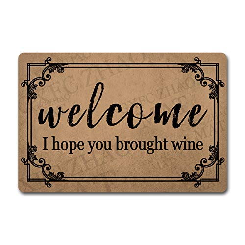 Funny Welcome Mats Decorative Area Rugs for Entrance Way Indoor Doormat I Hope You Brought Wine Personalized Monogram Kitchen Rugs and Mats with Anti-Slip Rubber Back Novelty Gift(23.6 X 15.7 in)