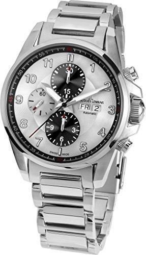 Jacques Lemans Herren Chronograph Automatik Smart Watch Armbanduhr mit Edelstahl Armband 1-1750E