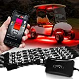OPT7 Aura Pro Golf Cart Underglow Bluetooth APP LED Lighting Kit, Neon Underbody Strips Accessories, RGB Multi-Color Mode Accent Lights with Bluetooth Controlled App, w/Switch, 10pcs, 12V, Single Row