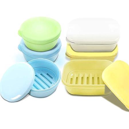 FineGood - Juego de 4 piezas de jabonera a prueba de agua, jaboneras, caja de jabón portátil con drenaje de jabón para baño