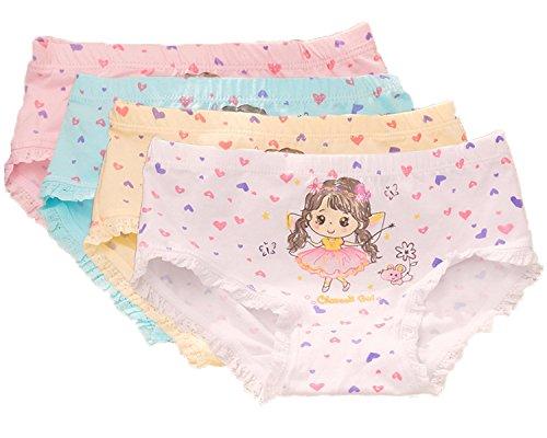 FAIRYRAIN FAIRYRAIN 4 Packung Baby Kleinkind Mädchen Engel Liebe Herz Pantys Hipster Shorts Spitze Baumwollunterhosen Unterwäsche 2-4 Jahre