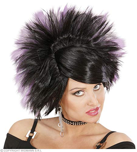 Pruik Rock Princess zwart paars voor haaraccessoires carnaval