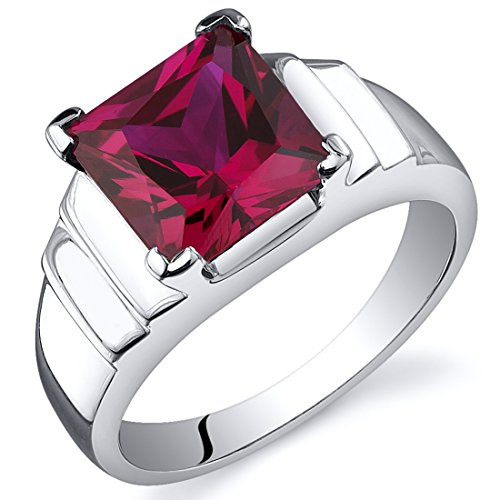 Peora Step Design Princess Cut 3.25 carats Created Ruby Ring in Sterling Silver Size 9
