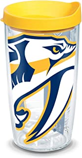 Tervis 1104910 NHL Nashville Predators Colossal Tumbler with Wrap and Yellow Lid 16oz, Clear