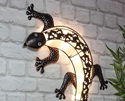 Solar Wandbild Gecko - ca. Ø 72 cm - Metall Garten Wand Dekoration im Antik Look - Gartendeko beleuchtet Eidechse