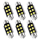 "AUXLIGHT 6418 6411 DE3425 C5W DE3423 36MM 1.42""Festoon Canbus Error Free LED Interior Light Bulbs 6000K Xenon White, Super Bright 6SMD Chips for Dome Map Door Courtesy License Plate Lights (Pack of 6)"