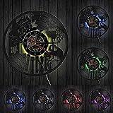HIDFQY Vin Logo Horloge Murale Cave Bouteille Verre Vigne Boisson Boisson Liqueur Bar étiquette emblème Disque Vinyle Horloge Murale avec LED