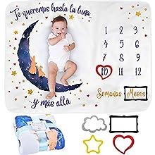 Manta Meses Bebé en Español | Modelo Unisex | Regalo De Fiesta De Nacimiento | Temática Luna | Suave y Gruesa | Manta para Fotos Mensuales | Control De Edad y Crecimiento | Manta Mensual De Hito