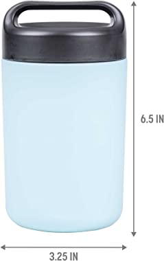 Goodful Vacuum Sealed Insulated Food Jar with Handle Lid, Stainless Steel Thermos, Lunch Container, 16 Oz, Blue