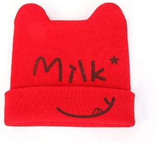 ベビーキッズキャップベビーコットン帽子男の子女の子双角春と秋の帽子ミルクラブリーオックスホーンキャップ編みベイビーハット(カラー:レッド)ミルク