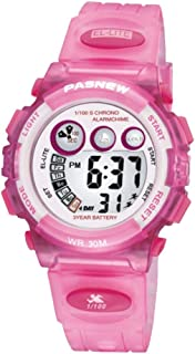 Kids Girls Watches, Dual Time Waterproof Sports Casual Wrist Watches with Star Bling (Pink)