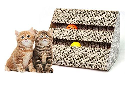 Ayuboom - Rascador para gatos con gato, rascador de postes, juguete para gatos y tabla de rascar con gato sin cascabel