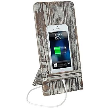 Rustic Barnwood Universal Smartphone Dock Charging Stand, Desktop Cell Phone Cradle, Brown
