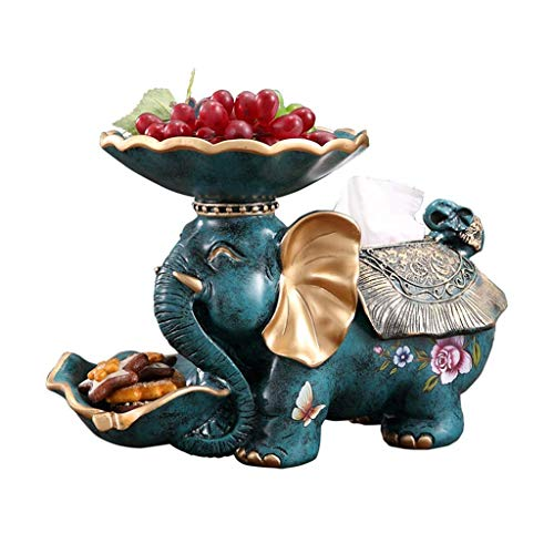 OH Caja de Tejido Cubierta Tenedor de Tejido Multifuncional Creativo Elefante Resina Decoración Sala de Estar Casa Fruta Bandeja Bandeja Bandeja fuerte y robusto/Green / 33 * 15 * 23.