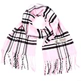 Plaid Cashmere Feel Classic Soft Luxurious Winter Scarf For Men Women (Baby Pink)
