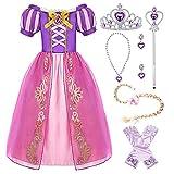 Hamanasu - Disfraz de princesa raiponce para niña, vestido con mangas de fiesta, vestido con accesorios (morado, 01,5 años/120)