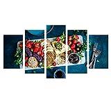 Aehoor Moderna Art 5 Piezas/Set HD Cuadro en Lienzo Impresión Artística Imagen Gráfica Decoracion de Pared Pintura de Pared Corredor Oficina Sala Decorativo Vegetables 55/45/35x20CM Frame