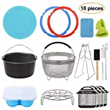 Aozita 18-Piece Mini 3 Quart Accessories for Instant Pot Accessories 3 Qt Only, Steamer Basket, Egg Steam Rack, Egg Bites Mold, Silicone Lid, Cheat Sheets, Mini Mitts, Dish Clip, Cleaning Set