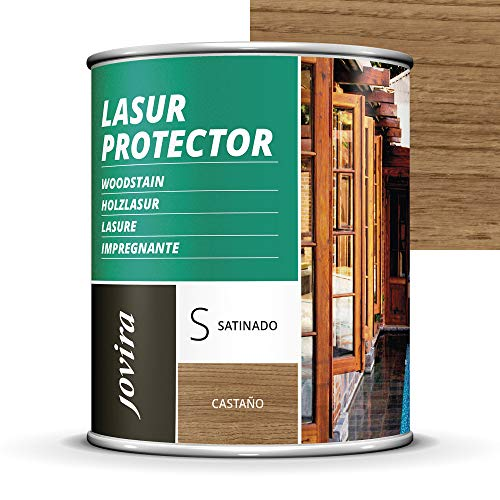 LASUR PROTECTOR SATINADO.(7 COLORES), Protege, decora y embellece todo tipo de madera (750 ML, CASTAÑO)