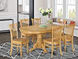 East West Furniture AVGR7-OAK-W Dinette set 6 Fantastic wood dining chairs - A Stunning dinner table- Oak Color Wooden Seat Oak Butterfly Leaf round dining table