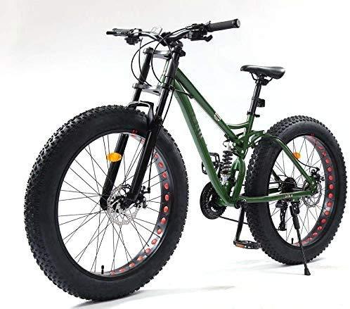 HCMNME Bicicleta Duradera Bicicletas 26 Pulgadas de montaña, Cola Fat Tire MBT for Bicicleta Suave, Doble suspensión Bicicleta de montaña, el Marco de Acero al Carbono de Alta, Doble Disco de