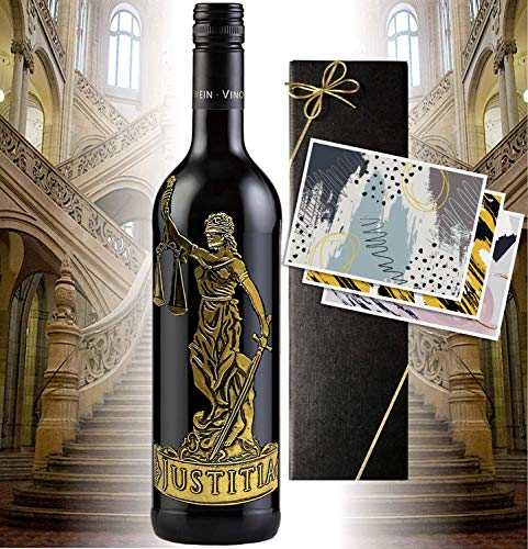 Justitia Rotwein-Geschenk für Juristen | sehr guter Cabernet Sauvignon aus dem Piemont Italien | Geschenkset für Juristen, Richter, Anwalt | Luxus für die Kanzlei