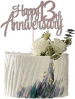 YUINYO Rose Gole Glitter Happy Anniversary Cake Topper - for Wedding Anniversary/Anniversary/Birthday Party Decorations (1...