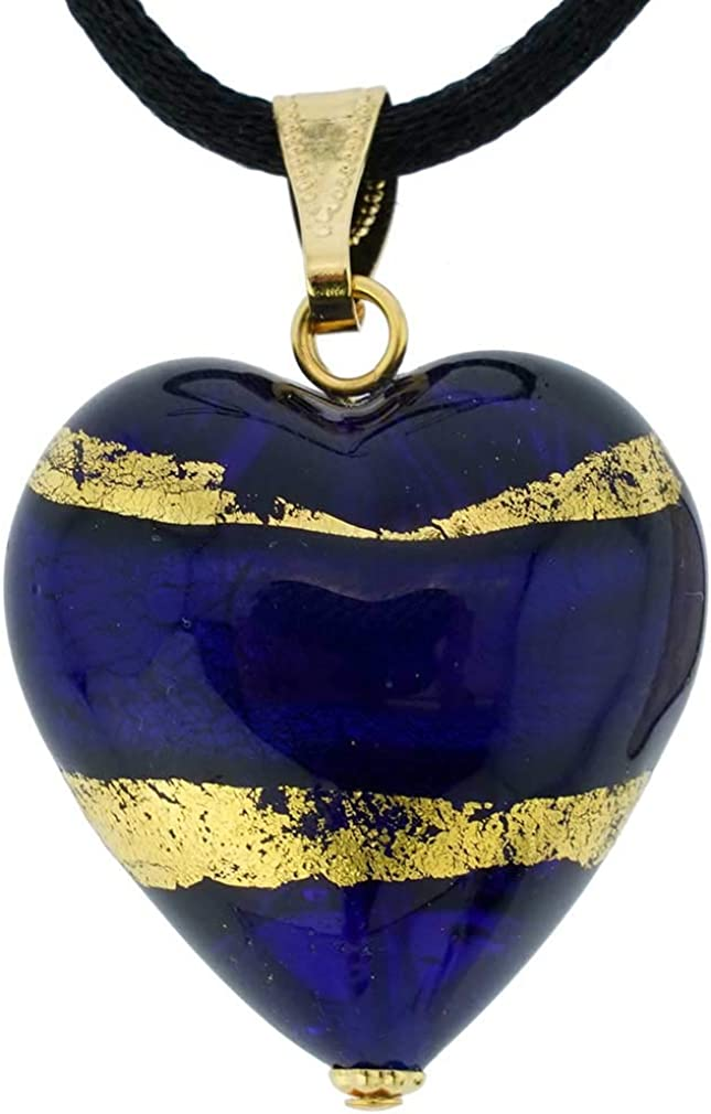GlassOfVenice Murano Glass Heart Pendant Gold - Wholesale and Blue OFFicial mail order