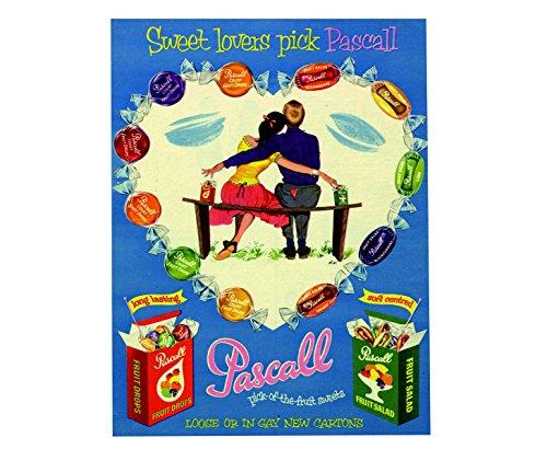 Ecool Pascall Fruits Drops Picto The Fruits Bonbons Rétro Shabby Chic Vintage Style Image Plaque Murale Métal Plaque Magnet Frigo