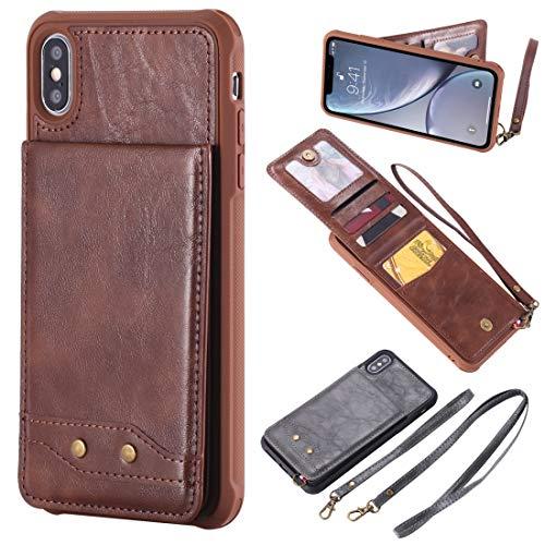 KONGXIANGKEJI elektronische mobiele telefoon YCDYD verticale flip case van leer voor iPhone XS Max, met ondersteuning & fotokader & fotobehang & sleuf & koord (zwart), Koffie.