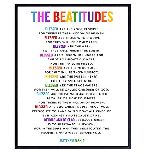 The Beatitudes Wall Art - Catholic Gifts Women - Christian Gifts for Women, Kids - Bible Verse Wall Art - Religious Scripture Wall Decor for Boys or Girls Bedroom, Living Room, Church, Sunday School