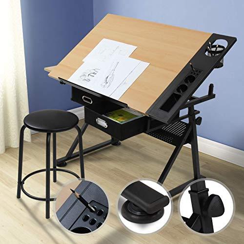 Nova - Mesa de dibujo inclinable ajustable en altura con dos cajones y taburete, escritorio con borde de apoyo para oficina de arquitectos y técnicos, multifunción, arte y diseño