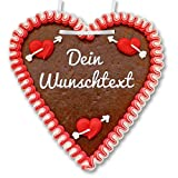 Lebkuchenherz 21 x 22cm individuell mit Wunschtext online selber Beschriften - Farbe: rot-weiß - persönliches Liebes-Geschenk - essbare Liebes-Botschaft online gestalten