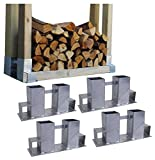 4x Holzstapelhilfe Feuerverzinkt Stapelhilfe Holzstapelhalter Brennholz Kaminholz Gestell Holz