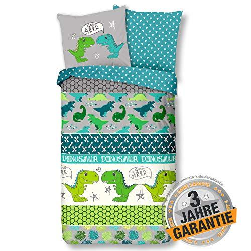Aminata Kids Bettwäsche Dinosaurier-Motiv 135x200 80x80 - Kinder-Bettwäsche-Set, Kinderbettwäsche mit Dino-Motiv, grün - Jungen