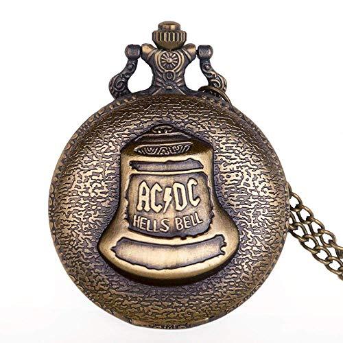 J-Love Vintage Unisex Big Hells Bell Reloj de Bolsillo de Cuarzo para Hombres Collar de Bronce Colgante con Cadena para Hombres Mujeres Regalos Reloj Fob Hombres