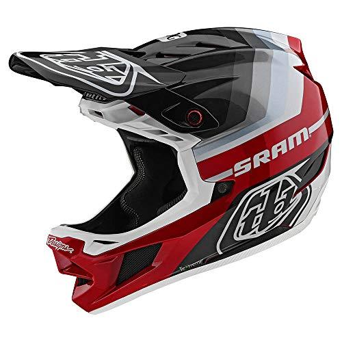 Troy Lee Designs Adult | BMX | Downhill | Mountain Bike | Full Face D4 Carbon MIPS Mirage SRAM Helmet (Medium, Gray/Red)