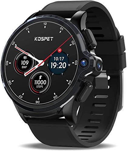 KOSPET Prime 4G / LTE Smartwatch, 1,6-Zoll-Touchscreen 3G RAM 32 GB ROM Smartwatch mit GPS WiFi 1260 mAh Akku Dual-Kamera-Gesichts-ID für Männer entsperren, kompatibel mit Android IOS