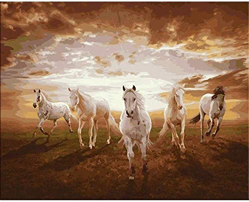 DIY Acrylic Painting Kit for Linen Canvas Paintworks Galloping horse Best gifts for lovers, children, and mothers-40x50cm-With Frame