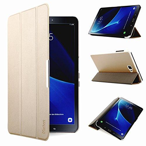 iHarbort® Premium Hülle für Samsung Galaxy Tab A 10.1 (SM-T580/T585) - Samsung Galaxy Tab A 10.1 hülle Etui Schutzhülle Hülle Cover Holder Stand mit Smart Auto Wake/Sleep-Funktion (Gold)