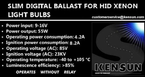 Kensun HID - 1 Pair '55 Watt' Slim Digital Ballasts