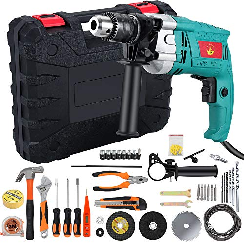 Anbull Hammer Drill Kit, 45Pcs Corded Drill Driver Set, 3800 RPM Double Drill Modes, with Variable Speed Trigger, Auxiliary Handle,Carrying Case for Home Improvement & DIY Project