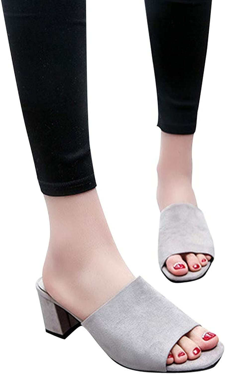 Btrada Summer Platform Open Toes Women Fashion Square Toe shoes Wedges High Heel Fish Mouth Slippers
