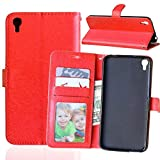 Wenlon Caja del teléfono de la PU para Alcatel Idol 3 (5.5) OT6045, Caja del teléfono de la Cartera del Negocio del Cuero Artificial, función de Soporte -Rosa roja