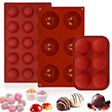 3 Pack Chocolate Bomb Mold Semi Sphere Silicone Mold for Making Hot Chocolate Bomb Candy Cookie Cake Jelly Dome Mousse(1.6/2/2.8in )