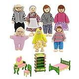 Muebles de casa de muñecas de madera,accesorios de casa de muñecas de 7 piezas, casa de muñecas y 1 juego de 4 muebles en miniatura para casa de muñecas (escritorio, silla, cama, zapatero)