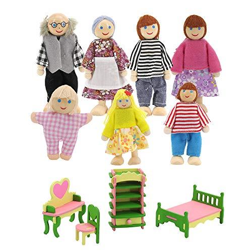 Mobili per casa delle bambole, in legno, accessori per la casa delle bambole 7 pezzie, 1 set di 4 pezzi in miniatura per la casa delle bambole (scriva